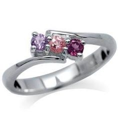 Genuine 3 Stone Sterling Silver Ring (Size 8) - Free shipping....can i has?  please?