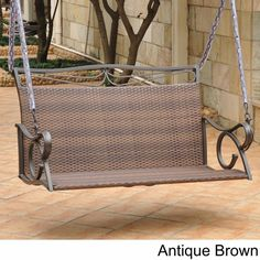 International Caravan Valencia Resin Wicker/ Steel Frame Hanging Loveseat Swing