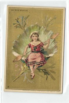 Victorian trade card - Au Bon Marche Girl On Shell With Peddle