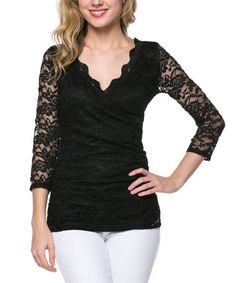 Another great find on #zulily! Black Lace Surplice Top by Celeste #zulilyfinds