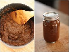 Pumpkin Butter: 15oz can pumpkin, 1/3c & 1T apple juice, 1/2c brown sugar, 1/2T cinnamon, 1 tsp ginger, 1/2 tsp nutmeg, 1/4 tsp ground cloves, 1-1/2 tsp lemon juice...Put all in a pot except lemon juice. Bring to boil & simmer for 30 min til thickens, stir frequently. Add lemon juice at end. Transfer to sterile containers, store in fridge. (Sterilize jar to help pumpkin butter last longer. Just put clean mason jar & lid in oven at 250 for 15 min & cool jar before putting pumpkin butter in…