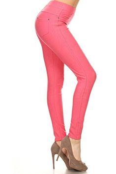 cae10887e25 Leggings Depot Premium Quality Jeggings Regular and Plus Soft Cotton Blend  Stretch Jean Leggings Pants w Pockets