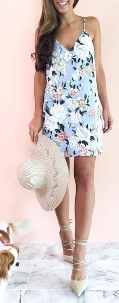 Blue Floral Little Dress Source