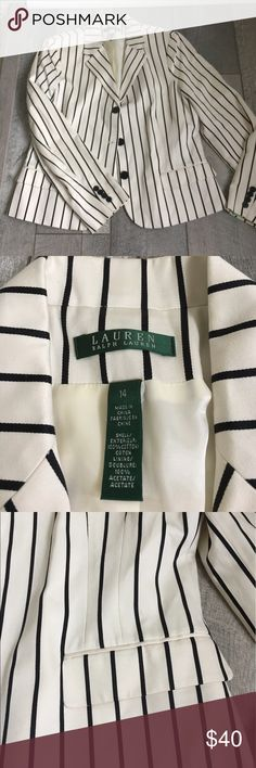 """Ralph Lauren Blazer 💋 NWOT Ralph Lauren blazer. This blazer is beautiful with black and white stripes and black  buttons on the front and the sleeves. It measures 19"""" across the chest. Ralph Lauren Jackets & Coats Blazers"""