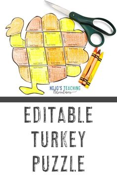 This EDITABLE turkey puzzle is a great way to create your own activities for kidson any topic in November. Use them for math, literacy, Spanish, French, German, or any other topic that fits into the space. Grab them for 1st, 2nd, 3rd, 4th, 5th, 6th, 7th, or 8th grade elementary or middle school students. (first, second, third, fourth, fifth, sixth, seventh, eighth graders, Year 1, 2, 3, 4, 5, 6, 7, 8) #ThanksgivingActivities #ThanksgivingGames #TurkeyActivities #TurkeyGames #NovemberActivities 5th Grade Classroom, Middle School Classroom, Classroom Ideas, Math Literacy, Activities For Kids, Grammar Activities, Thanksgiving Activities, Thanksgiving Crafts, Basic Math