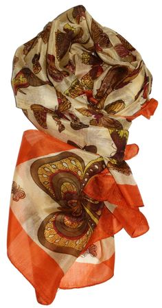 LibbySue-Luscious, 100% Pure Silk Oblong Butterfly Scarf