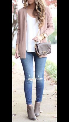 Casual outfit. I like the lighter colors. I don't have any good light jeans right now. I like booties but don't know where to start with them.