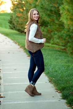 faux fur and wedge booties