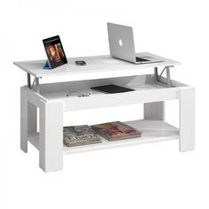 Mesa de centro elevable Ambit, color blanco · 69€