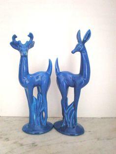 Art Deco Glazed Ceramic Deer Figurine/ Pair Buck and by GreenZebre, $69.00