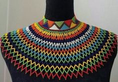 Zulu South African beaded collar shoulder length choker necklace in yellow Zulu, African Beads Necklace, African Jewelry, African Accessories, Women Accessories, Beaded Jewelry, Beaded Necklace, Choker Necklaces, Pearl Necklace