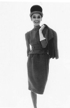 Audrey Hepburn wearing a wool suit by Givenchy, 1963    Photo by Bert Stern