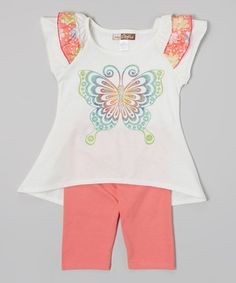 Love this My Sweet Doll Ivory Butterfly Angel-Sleeve Tee & Fuchsia Leggings - Toddler by My Sweet Doll on #zulily! #zulilyfinds