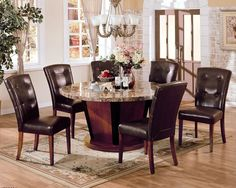 Round Granite Top Dining Table Set