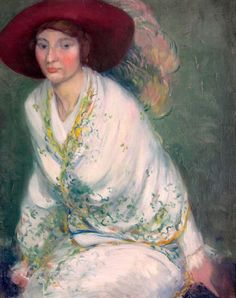 Woman With Feathered Hat ~ Everett Lloyd Bryant ~ (American, 1864-1945)