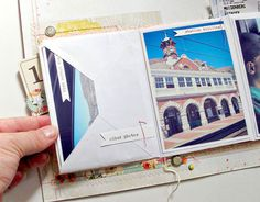 Step-by-step tutorial on how to make an envelope mini album you can add to a scrapbook page