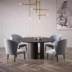 Top 12 Astonishing Luxury Dining Room Ideas That Wows Dining Table Online, Dining Table Design, Dining Table Chairs, Round Dining Table, Dining Furniture, Furniture Design, Esstisch Design, Luxury Dining Room, Dining Rooms