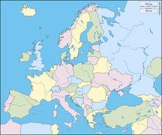 Europa : Kostenlose Karten, kostenlose stumme Karte, kostenlose unausgefüllt Landkarte, kostenlose hochauflösende Umrisskarte : Flüsse, Länder, Farbe