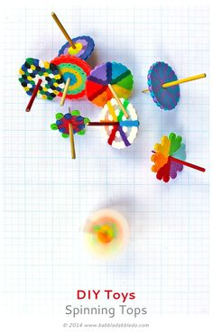 DIY TOYS: Spinning Tops (+ Magical Disappearing Colors) - Babble Dabble Do Metal Projects, Welding Projects, Fun Projects, Crochet Projects, Perler Bead Designs, Creative Activities For Kids, Crafts For Kids, Kids Diy, Babble Dabble Do