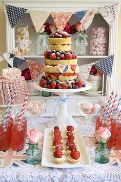 Sweet and colorful British jubilee desert table by Cotton and Crumbs