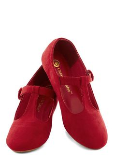 Doll Over Town Flat in Red. As a girl on the go, you require footwear that serves both form and function, and these bright little Mary Jane flats fit the bill! #red #modcloth