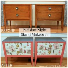 Pretty in Pink Parisian Nightstand Makeover with Fabric & Chalk Paint - before and after - #parisian #french #chalkpaint #milkpaint artsychicksrule.com