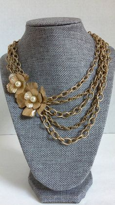 Multi Chain Necklace Statement Necklace Flower by BeebleWeezy