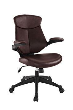 Stealth Mid Back Office Chair in Brown (EEI-1103-BRN)  Versatility to match your mood makes Stealth a prime choice in office seating. A cushioned removable leatherette back reveals a dynamic and ventilated counterpart beneath.  #office #officechairs #chairs #furniture
