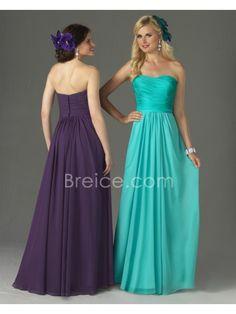 Sheath / Column Strapless Floor Length Chiffon Wedding Party Bridesmaid Dresses