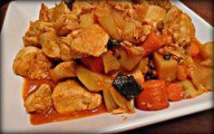 Peito de frango estufado com batatas