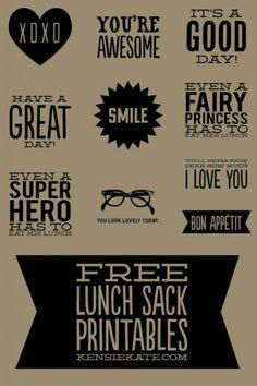Paper lunch sack printables / Bolsas de papel a imprimir, creo que es chulísimo de Kensie Kate