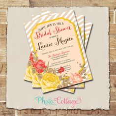 Red and Yellow Bridal Shower Invitation Floral by PhotoCottage
