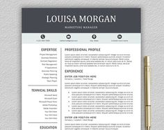 professional modern resume cv template for word us letter and a4 1 2 page cv template