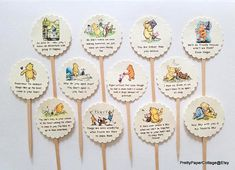 Classic Winnie the Pooh Cupcake Toppers with Quotes Birthday