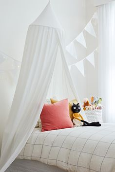 Cotton Bed Canopy at EziBuy Home Australia. Buy homeware and gifts at exceptional value. Mosquito Net Bed, Kids Bed Canopy, Cotton Bedding, Kid Beds, Kids Bedroom, Kids Rooms, Toddler Bed, New Homes, Cushions