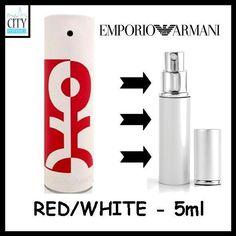 RED WHITE by EMPORIO ARMANI. 5ml Eau De Toilette SPRAY FOR MEN. 5ml ATOMISER = APPROX 50  SPRAYS. ★ GREAT SIZE FOR TRIAL OR TRAVEL ★. SUPPLIED IN A REFILLABLE ATOMISER BOTTLE AS SHOWN IN THE PICTURE. | eBay!