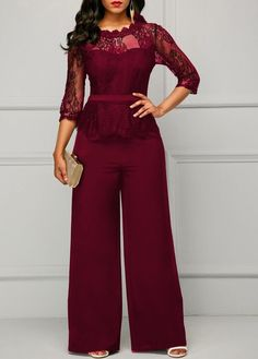 97ee0c6965ca Casual long sleeve jumpsuit women sexy lace patchwork off shoulder see  through solid overalls elegant office