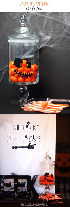 I'm hosting a pumpkin carving party this weekend and to welcome my guests, I'll have a darling DIY Jack-O-Lantern Candy Jar in my entryway! Along with a few other goodies I whipped up with supplies...