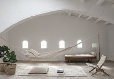 """Hammock, Mazari Cushion and Chobi Rug, Ilse Crawford, """"Wellbeing"""" Collection for Nanimarquina Lounge Chair, Design Bestseller, Stackable Chairs, Hammock, Furniture Design, House Design, Design Design, Design Trends, Home Decor"""
