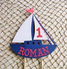 Personalized Sailboat Cake Topper Nautical by MyMixedMediaCrafts
