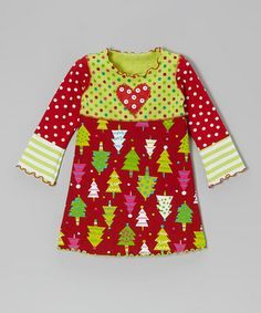 Take a look at this Red & Light Green Tree Crazy Dress - Toddler & Girls by Mis-Tee-V-Us on #zulily today!