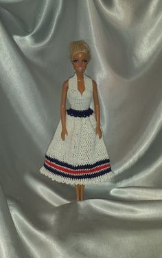 Crocheted Barbie Halter Dress, Fashion Doll Crocheted Clothing, Handmade Barbie Clothes, 4th of July Halter Dress For Your Barbie Doll by GrandmasGalleria on Etsy