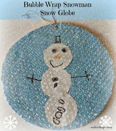 How to make a Bubble Wrap Snowman Snow Globe via @craftykidsathome