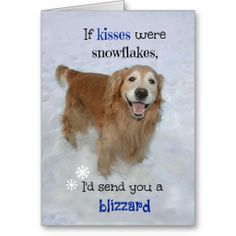 "Golden Retriever Snowflake Kisses Valentine's Day Greeting Card by #AugieDoggyStore. Inside text reads, ""Happy Valentine's Day!"" but this can be changed or removed to suit any occasion!"
