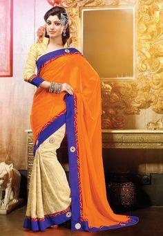 A breath taking Orange & Cream Color Georgette & Silk Brasso Designer Saree embellished with applique & stone work