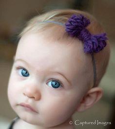 simple fashion child's headbandyarn bow tie purple by meganbmalone, $18.00 capturedimages.net