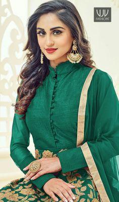 d3403e1679 Buy online bollywood ethnic outfits like salwar suit, designer salwar suit.  Order this Krystle Dsouza embroidered, lace and resham work floor length ...