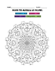 Students will enjoy this fun 'Colour the Mandala' colouring-in activity. It is a great worksheet for identifying crotchets, quavers, s.