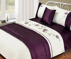 Just Contempo Polyester Bed In A Bag - Embroidered Duvet Cover Faux Satin Silk Complete Bedding Set King Sizes, Purple