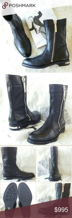 "PHILIPP PLEIN hidden boots Philipp Plein black leather boots. Leather upper. Shearling lining. Rubber outsole.  Heel approximately 1.25"" Made in Italy.  Size: IT 45 or US 11.5-12  NWB. Never worn. Can provide more pictures and info upon request. Reasonable offer only please :) Philipp Plein Shoes Boots"